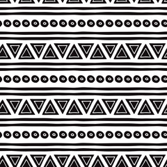 Black and white seamless tribal ethnic pattern Aztec abstract background Mexican ornamental texture in vector