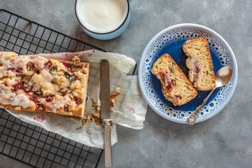 Cake with fresh rhubarb and a cup of kefir.