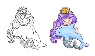Lovely dreamy mermaid with purple gradient hair, floating with dolphin. Cartoon characters. Vector illustration for coloring book, print, card, postcard, poster, t-shirt, tattoo.