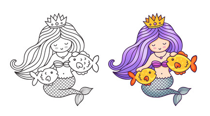 Queen mermaid with beautiful hair, stroking two golden fish. Cute cartoon characters. Vector illustration for coloring book, print, card, postcard, poster, t-shirt, patch, tattoo