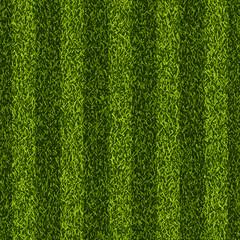 Vector realistic top view illustration of soccer green grass field. Seamless striped line football stadium texture.