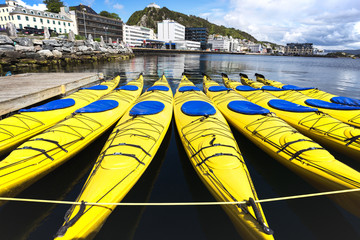 a group of kayaks in alesund