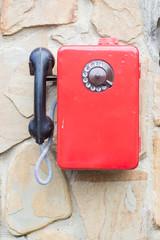 Red retro telephone, payphone
