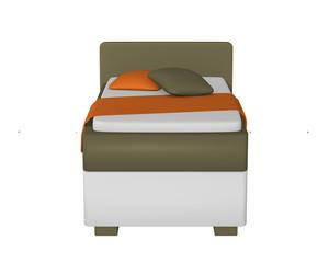 Einzelbett in olivgrün - weiß, mit Dekorationen auf weiß isoliert aus vorderansicht. 3d Render