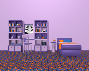 Jugendzimmer in violetten Farbtönen. Mit Schrankwand und Einzelbett aus Vorderansicht.  3d render