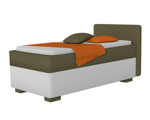 Einzelbett in olivgrün - weiß, mit Dekorationen auf weiß isoliert. 3d Render