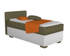 Einzelbett in olivgrün - weiß, mit Dekorationen auf weiß isoliert aus seitenansicht. 3d Render