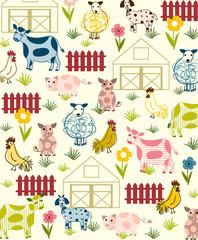 Sweet barnyard vector illustration, background or placement print. Nursery wall art.