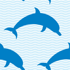 Dolphin5_pattern/Seamless pattern with dolphins and waves.