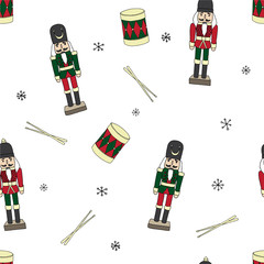 Vintage christmas wood toys soldiers and drums color seamless pattern vector isolated