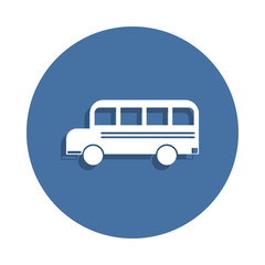school bus icon in badge style. One of education collection icon can be used for UI UX