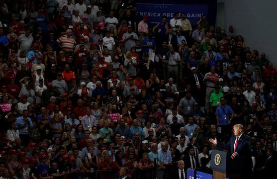 U.S. President Donald Trump holds a Make America Great Again rally in Olentangy Orange High School in Lewis Center, Ohio