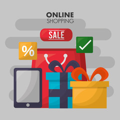 online shopping gift boxes colors smartphone porcent sale vector illustration