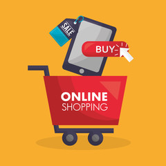 online shopping red card smartphone buy sale store vector illustration