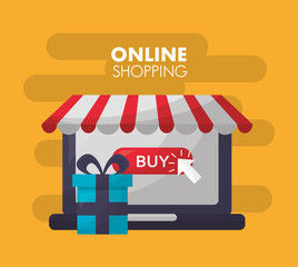 online shopping store shop buy gift box vector illustration