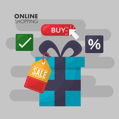 online shopping discount porcent gift box sale vector illustration