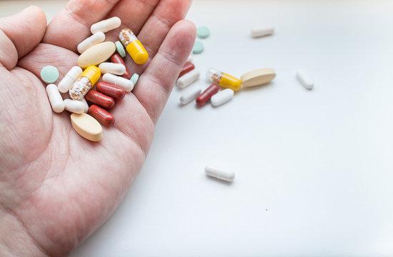 Assorted pills on hand