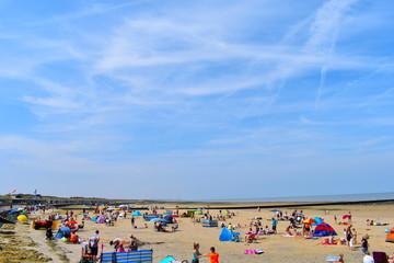 Tourists on their summer holidays, Minnis Bay, Birchington, Kent, UK, August, 2018