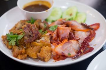 Crispy pork and grilled red pork, Thai food