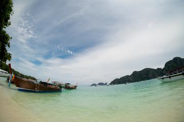 Longtail boats anchored at Phi Phi Don Island Krabi Province Thailand