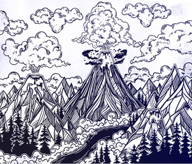Hand drawn volcano landscape with forests and mountains. Nature disaster.