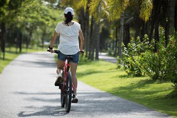 Woman riding mountain bike in tropical park