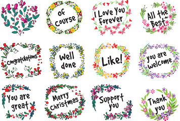 flower withGreeting card vector drawing