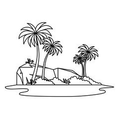 Wall Mural - tree palms scene icon
