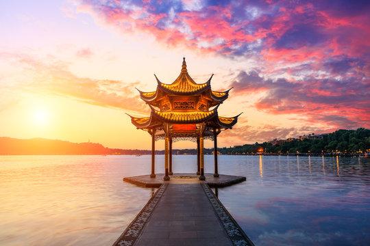 Hangzhou west lake jixian pavilion at sunset