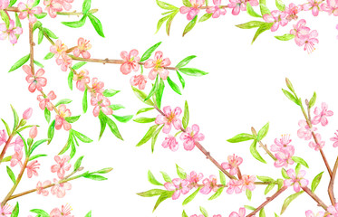 seamless texture with blossom branches of almond. watercolor painting
