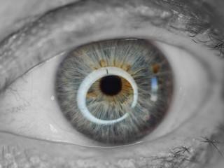 Black and white human eye with blue iris. Macro shoot.