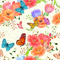 pretty seamless texture with poppies and butterflies. watercolor painting