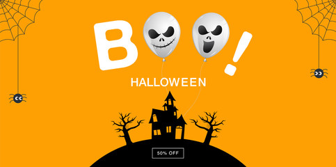 Halloween Banner ,Ghost , boo, Scary ,spooky ,air balloons, template Vector illustration.