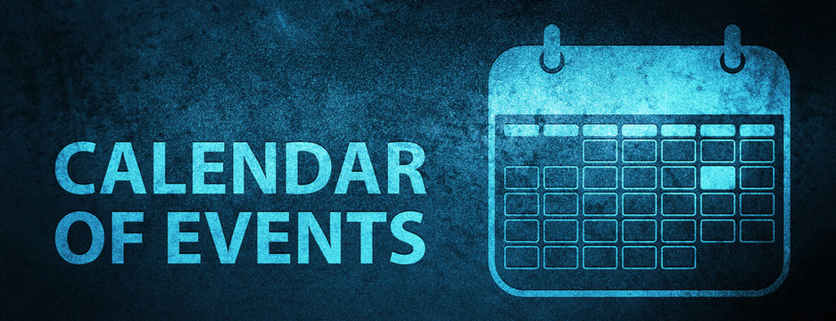 Calendar of events special blue banner background