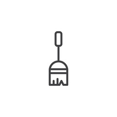 Sweeping broom outline icon. linear style sign for mobile concept and web design. Broom stick simple line vector icon. Symbol, logo illustration. Pixel perfect vector graphics