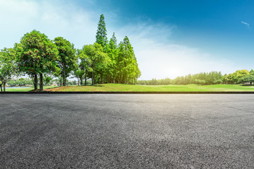 Empty asphalt road and green forest landscape Wall mural
