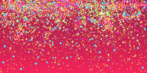 Bright explosion. Texture with random geometric glitters. Colorful holiday background with confetti. Pattern for design. Print for banners, posters and textiles. Greeting cards