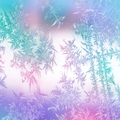 Pastel blue, pink, purple and green frosted snowflake textured paper, Illustration.