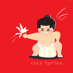 Japanese sumo wrestler mascot on red background. Cute character design. Flat style. Cartoon vector illustration.