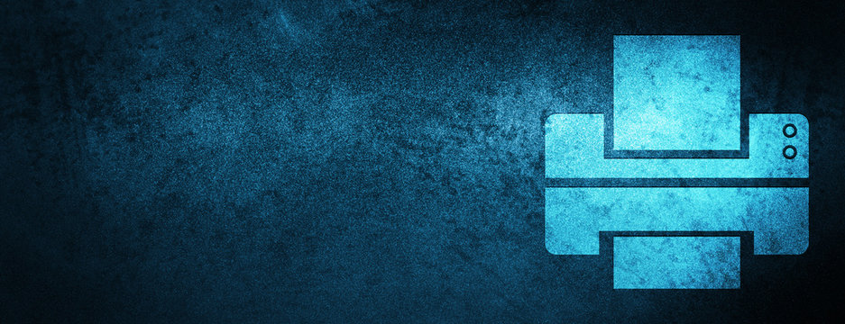 Printer icon special blue banner background