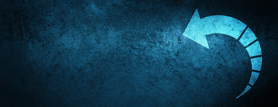 Back arrow icon special blue banner background
