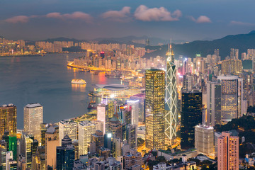 Hong Kong central business downtown night light view from the Peak
