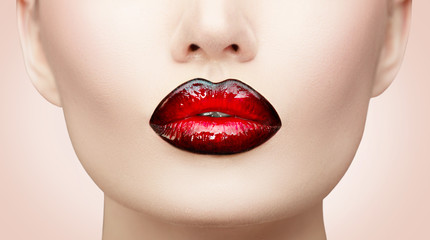 Acrylic Prints Fashion Lips Lips makeup. Beauty high fashion gradient lips makeup sample, black with red color. Sexy mouth closeup. Lipstick