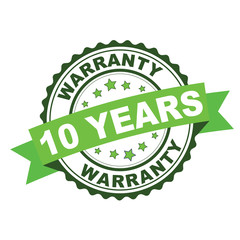 Green rubber stamp with 10 years warranty concept