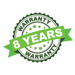Green rubber stamp with 8 years warranty concept