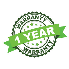 Green rubber stamp with 1 year warranty concept