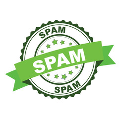 Green rubber stamp with spam concept