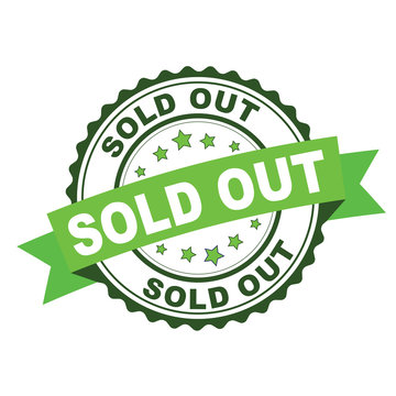 Green rubber stamp with sold out concept
