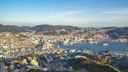 Wall Mural - Nagasaki city skyline in Nagasaki, Japan timelapse 4K