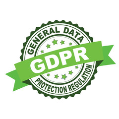 Green rubber stamp with GDPR concept